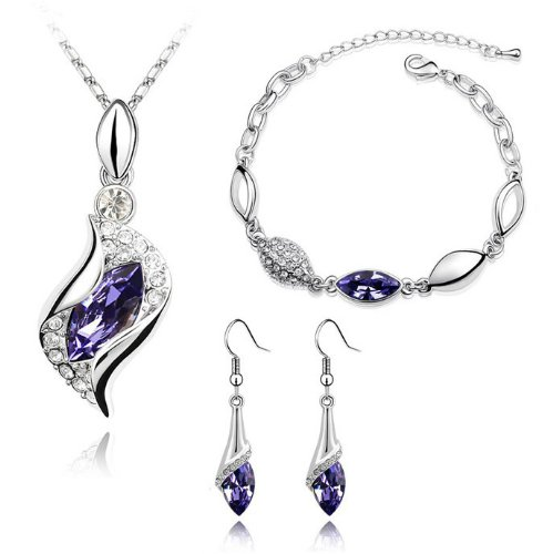 Bridal Jewellery Set Purple Crystal Eyes Drop Earrings Necklace & Bracelet S287