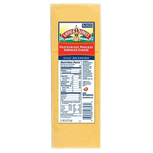 Land O Lakes American Yellow Process Cheese Slice, 5 Pound -- 2 per case. (Cheddar Cheese Slices compare prices)