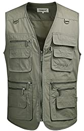Mrignt Mens Pockets Jacket Outdoors Travels Sports Vest Tops(Army Green,US XL(Asia 4XL))