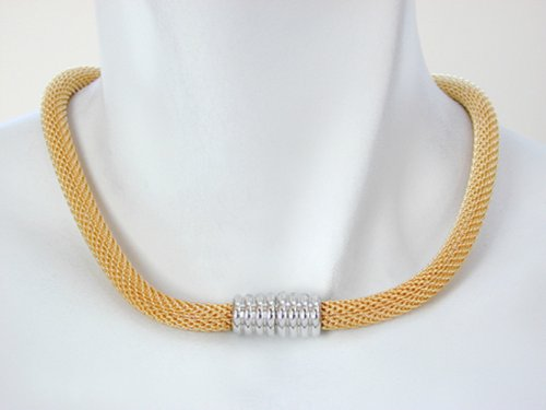 Magnetic Mesh Necklace with Gold Mesh Strand and Silver Magnetic Clasp