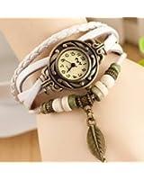 Femme Mode Watch Retro Montre Bracelet PU Cuir Quartz Perle Tressé Rétro Bijoux Décor Wrist Watch
