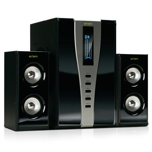 Arion Legacy Ar508Lr-Bk 2.1 Speaker System With Subwoofer & Remote For Mp3, Pc, Game Console, & Hdtv - Black, 140 Watts