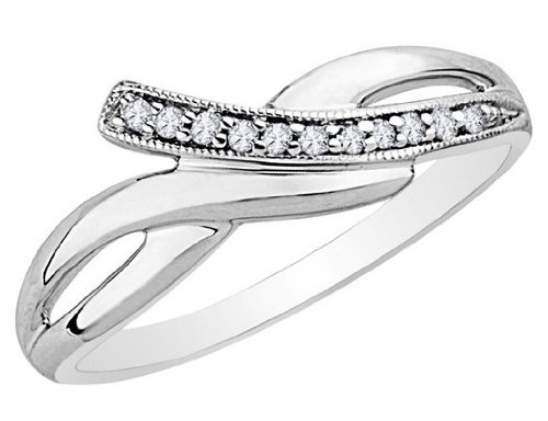 Diamond Promise Ring in Sterling Silver, Size 8.5