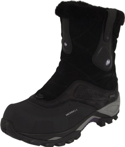 Merrell Women's Whiteout Mid Waterproof Boot,Black Leather,7.5 M US