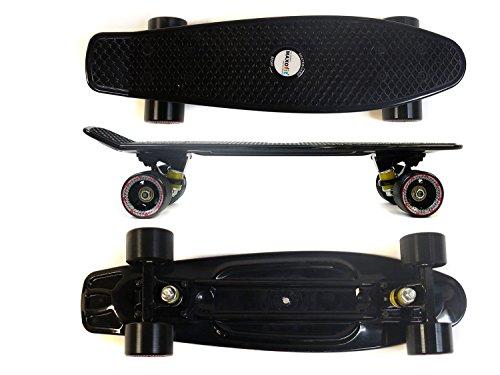 MAXOfit® Mini Cruiser Retro Skateboard Louisiana schwarz No. 63, 55cm aus Kunststoff und Aluminium