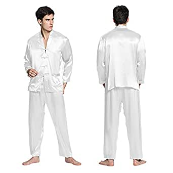 Lilysilk silk pajamas mens white xxl big and for Mens xxl tall dress shirts