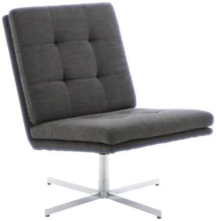 AC Design Furniture 44033 Sessel Nils, Bezug Strukturstoff anthrazit, Gestell Metall verchromt