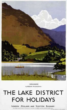 Grasmere,The Lake District For Holidays, English Railway Travel Art Poster Print by Norman Wilkinson