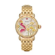 Michele CSX Garden Party Enamel Dial Gold-plated Stainless Steel Bracelet Ladies Watch MWW05D000005