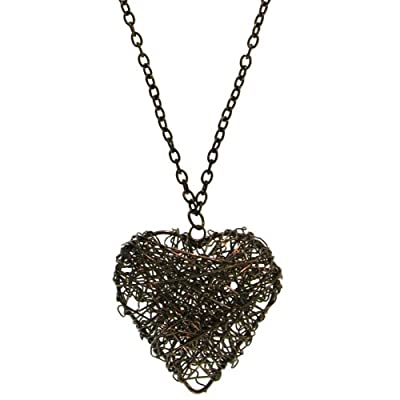 Wire Wrapped Heart Necklace, in Hematite: Jewelry