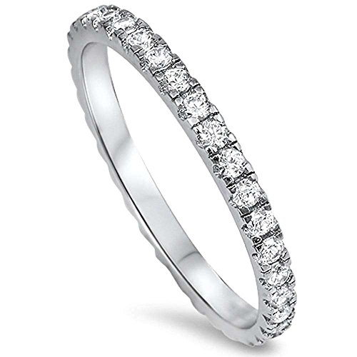 New Round Cz Eternity Style Band .925 Sterling Silver Ring Size 6