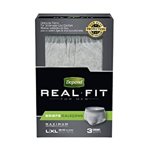 Depend Real Fit Men's Maximum Absorbency Underwear, Large/Extra Large, 3 Count by Depend