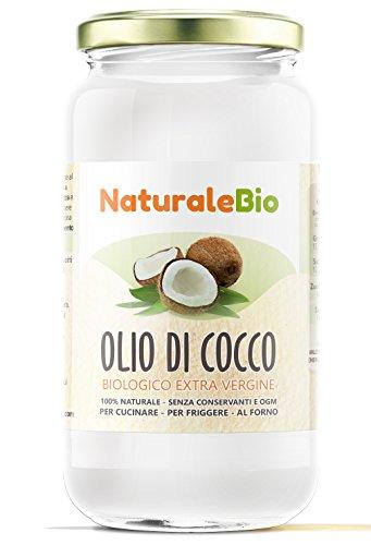 Olio di Cocco Biologico Extra Vergine 1000 ml - Crudo e Spremuto a Freddo | Puro e Biologico al 100% | Ideale sui Capelli, sul Corpo e ad Uso Alimentare | Olio di Cocco Bio Nativo e non Raffinato | ( NaturaleBio)