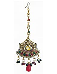 DollsofIndia Maroon And White Stone Studded Oxidised Metal Polki Mang Tika - Stone, Bead And Metal - Red