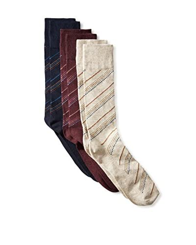 Florsheim Men's 3-Pack Diagonal Stripe Crew Socks, Navy/Wine/Oatmeal, One Size