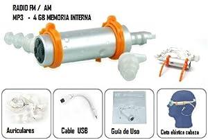 Mp3 Acuático sumergible 4Gb + Auriculares + Cinta elástica + cable USB + Guía uso para nadar