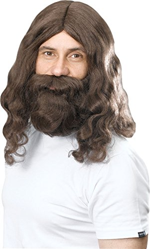 Jesus Hippie Religious Fancy Dress Party Hippy Wig & Beard Set Adult Accessory