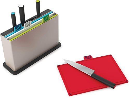 Joseph Joseph - Index Plus - Set de 4 Planches à Découper avec 4 Couteaux Intégrés - Argent