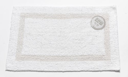 Carnation Home Fashions Reversible 100-Percent Cotton Bath Mat, 17 by 24-Inch, White