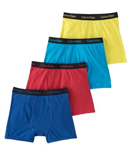 Calvin Klein Boy's Boxer Briefs 4pk, Color: Blue, Yellow & R