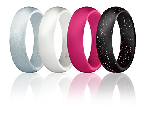 Silicone Wedding Ring For Women By ROQ, Set of 4 Silicone Rubber Wedding Bands - Black with Glitter Sparkle Pink and Teal, Pink, White, Metal Look Silver - Size 7 (Law Enforcement Rings compare prices)