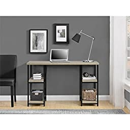 Altra, ( Elmwood ) Double Pedestal Desk With Four Open Shelves To Make Your Office Space Both Stylish And Functional.