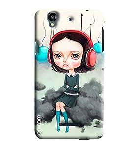 Omnam Girl Listening To Music Printed Designer Back Cover Case For Micromax Yureka