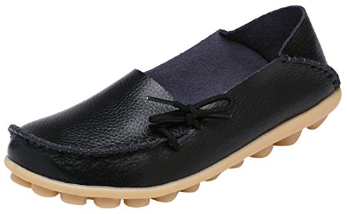 Serene Womens Leather Cowhide Casual Lace Up Flat Driving Shoes Boat Slip-On Loafers (10.5B(M)US, Black)