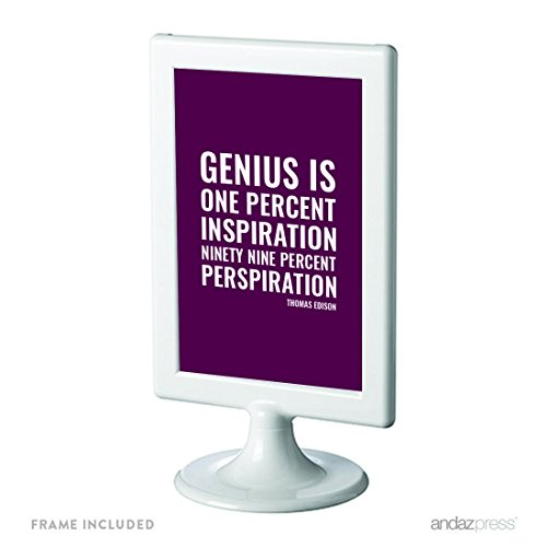 Andaz Press Motivational Framed Desk Art, Genius is one percent inspiration, ninety-nine percent perspiration, Thomas Edison, 4x6-inch Inspirational Success Quotes Gift Print, 1-Pack, Includes Frame (99 Cent Posters compare prices)