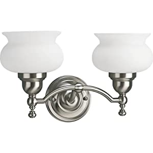 Bathroom Light Fixtures Brushed Nickel on Progress Lighting P3396 09 2 Light Bath Fixture  Brushed Nickel