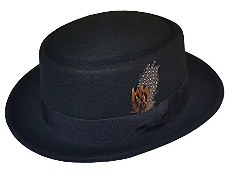 Men's 100% Soft & Crush-able Wool Felt Pork Pie Hats With Feather (M, Black) (Men Pork Pie Hat compare prices)