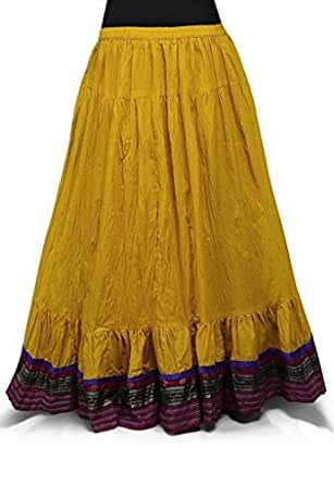 Mustard Cotton Readymade Long Skirt Amazon.in Clothing u0026 Accessories