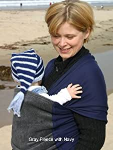 Moby Wrap Moby D Baby Carrier, Grey Fleece and Navy