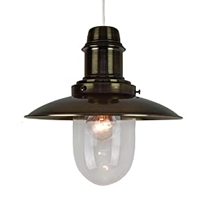 Fishermans Traditional Metal Lantern Ceiling Light Pendant Shade - Antique Brass from Dove Mill Lighting