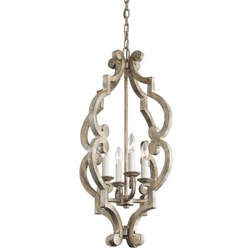 Kichler Lighting 43255DAW Hayman Bay 4-Light Foyer Pendant, Distressed Antique White Finish