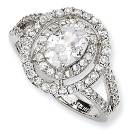 Genuine IceCarats Designer Jewelry Gift Sterling Silver Fancy Oval Cz Ring Size 6.00