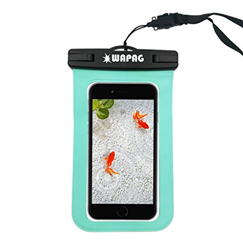 WAPAG Waterproof Bag Case Pouch for iPhone 6s, 6, 6 Plus, 5s, Samsung Galaxy s6, s6 Edge, s5, s4, Note 4, Cell Phone up to 6 inches, Dirt/Snow/Dust Proof, Fits Swimming, Kayaking, IPX8 - Turquoise