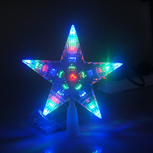 Gbb 7'' Flash Light Led Decoration Lamp Pentagram Star Christmas Tree Topper Aa Battery Indoor Outdoor Use