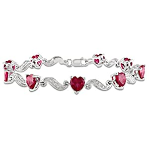 Sterling Silver Created Ruby and Diamond Bracelet (0.02 cttw, H-I Color, I2-I3 Clarity), 7