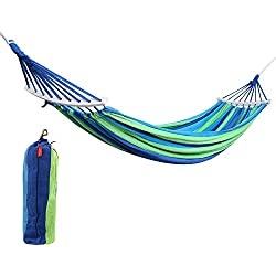 "Rusee Double 2 Person Cotton Fabric Canvas Travel Hammocks 450lbs Ultralight Camping Hammock Portable Beach Swing Bed with Hardwood Spreader Bar Tree Hanging Suspended Outdoor Indoor Bed, 59"" Wide"
