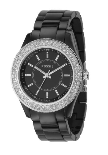 Fossil Ladies Watch Stella ES2445 with Black Dial and Clear Stone Set Bezel and Acrylic Bracelet