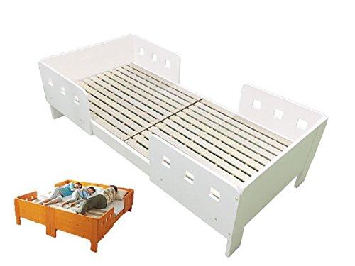 天然木すのこベッド(フレームのみ)2台並べて家族と一緒に寝られる安心ガード付ベッド 天然木パイン材 (ホワイト, セミシングル)