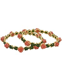 Nisa Pearls Gold Plated Synthetic Coral Studded With Floral Design Bangle Set For Women ,