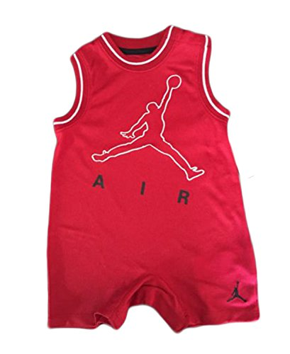 Baby Infant Jordan Jumbo Outlined Romper (3/6 Months, Red)