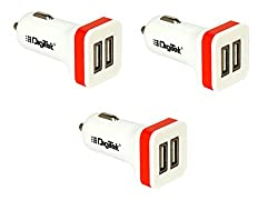 Digitek 009 Dual USB 2.1 A DMC Car Charger Pack of 3 (Colors May Vary)