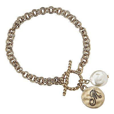 Designer Inspired Letter M Gold & Pearl Monogrammed Initial Chain Bracelet. HOT Item! Artisan Hammered Monogram Initial Charm Bracelet in Our Signature Worn Gold Plating on Double Link Chain, Accented with a Trendy Toggle Closure & Ivory Coin Pearl...a Definite Must-have!. Double Link Chain, Approx. Length: 7.5