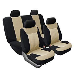 FH-FB062114 Classic Corduroy Car Seat Covers, Airbag compatible and Split Bench, Beige and Black color by FH