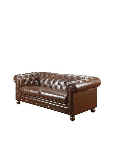 Armen Living Winston Bonded Leather Vintage Sofa, Mocha As You See