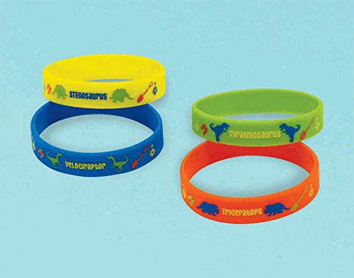 "Amscan Dashing Prehistoric/Dinosaur Rubber Bracelet, 2-1/2 x 7/16"", Blue/Orange/Green/Yellow - 1"