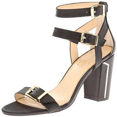 Jessica Simpson Women's Julinda Dress Sandal,Black Zip Leather,5.5 M US